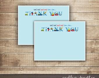 Transportation Thank You Notes, Transportation Party, Transportation Birthday Thank You Card, Party Printables, Instant Download