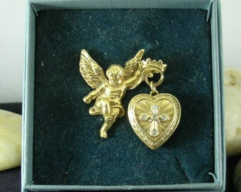 Cross in Glory Cherub Locket Brooch - Renaissance - Vatican Library