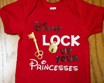 "Disney Inspired boy's shirt; Baby Boy's Disney outfit; ""Lock up your Princesses"" Shirt; Toddler Boy's Disney outfit; boys disney onesie"