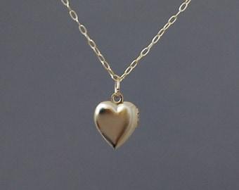 Tiny Gold Heart Locket Necklace