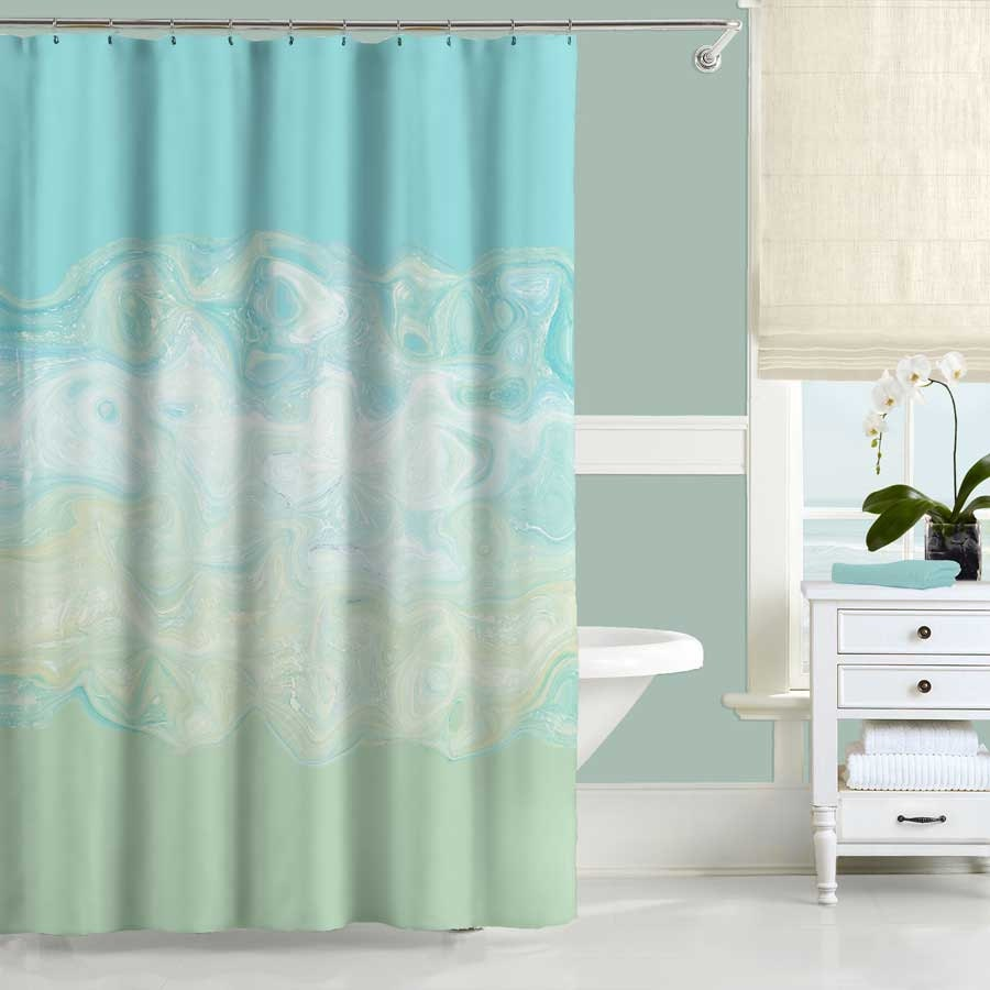 Mint Green Shower Curtain Aqua Blue Bath