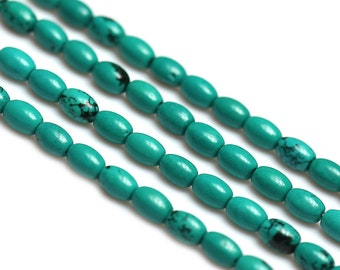 Green Turquoise Oval Beads, Rice Shape Dyed Howlite Beads Strands, 15 Inch Full Strand Howlite Turquoise Birthstone Jewelry Beads Supplies