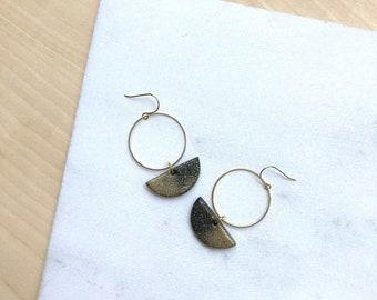 Boucles d'oreilles bijoux noir boucles d'oreilles pendants d'oreilles faites ouvert cercle boucles d'oreilles demi lune cadeaux-pour-sœur