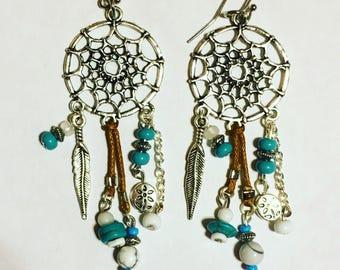 Bohemian Dreamcatcher Gemstone Earrings