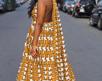 CARMEN - African Caramel White Fabric Max InfinitY Dress