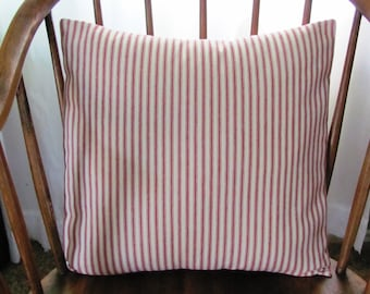 Red Ticking Stripe Pillow Cover Cotton Twill