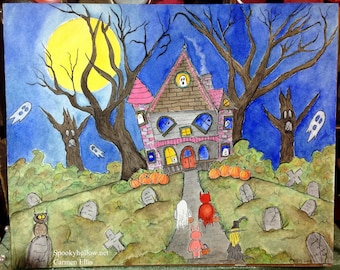 Halloween Trick or Treat watercolor and ink illustration thick 8 by 10 Strathmore Watercolor paper
