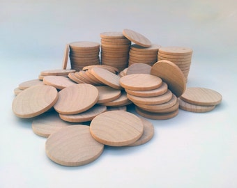 "Qty of 100 / 1.5"" Wooden Circles Round Discs - 1/8"" thick - Wedding Favors DIY Unfinished Ready to Paint"