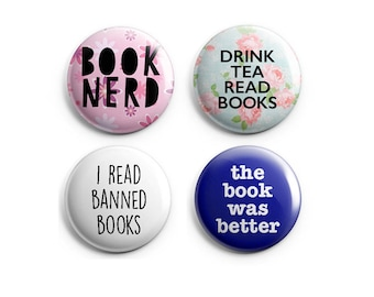 Book Lovers Set - Reading Pinback Button, Book Magnets, Co-worker gift, stocking stuffer, gift for reader