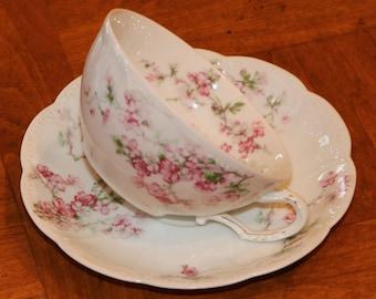 Haviland Limoges France Pink Floral Pattern China Teacup and Saucer