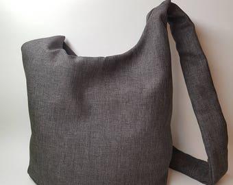Gray Crossbody Hobo Bag - Large Hobo Bag - Slouch Bag - Handmade Hobo Bag - Grey Bag For Women - Shoulder Sling Bag - Elegant Purse - Vegan