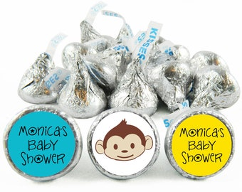 Set of 108 - Monkey Boy Baby Shower Stickers for Hershey's Kisses. Monkey Baby Shower Favors - Monkey Kiss Stickers - #IDBBS607