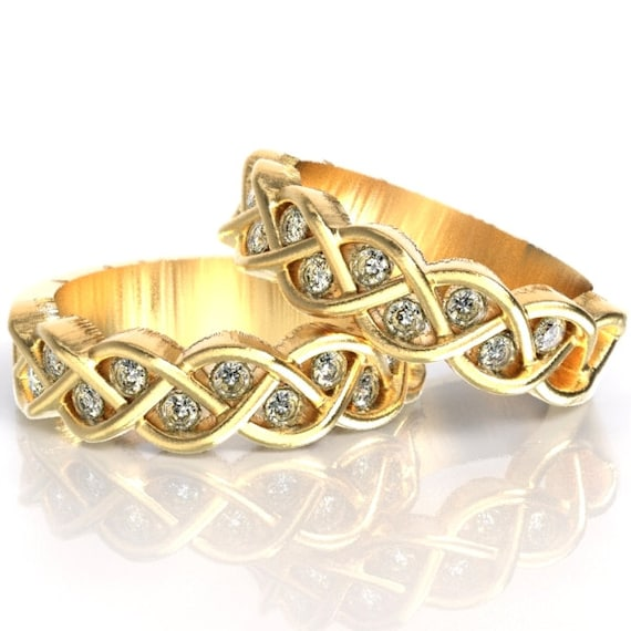 Celtic Wedding Ring Set Moissanite Stone With Braided Knot Design in 10K 14K 18K Gold, Palladium or Platinum, Made in Your Size CR-1005