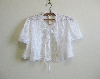White Lace Bed Jacket Medium - Gillian O'Malley - Deadstock w/ original tags
