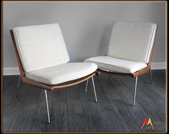 Mid Century Danish Modern Pair 2 Peter Hvidt Boomerang Lounge Chairs