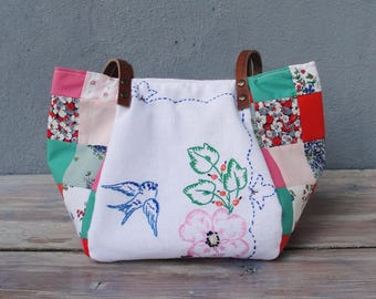 Swallow Bird Bag - Vintage Embroidery, Pink and Blue Patchwork and Leather Bag.