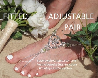 Sale Beach Wedding Sandals Beach Barefoot Jewelry, Silver foot jewelry, Silver barefoot sandal, silver heart anklet, toe ring heart wedding,