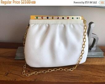Vintage White Leather Jeweled Handbag