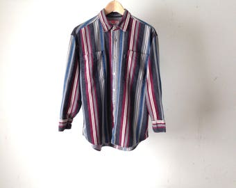 90s nirvana STRIPED color block vintage faded red, blue, grey and white long sleeve shirt