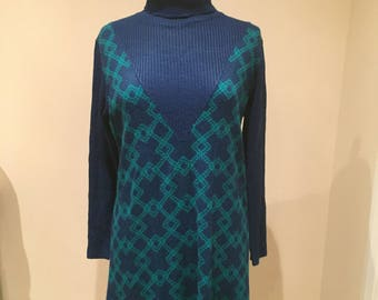 Vintage Rollneck Knitted Jumper Dress with Blue and Green Geometric Pattern Size 12 Medium