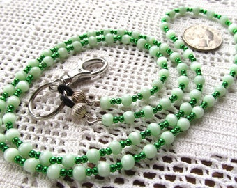 Badge or Eyeglass Lanyard Beaded in Green and White Rounds