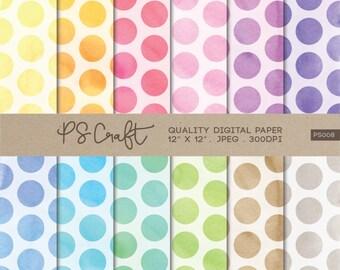 Polka Dots Watercolor Digital Papers, Polka Dot Background,  Polka Dot Clip Art