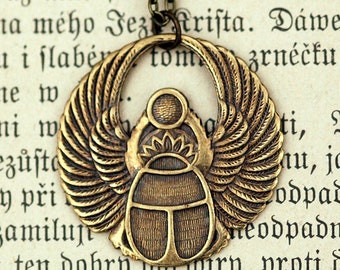 Egyptian Scarab Necklace in Brass