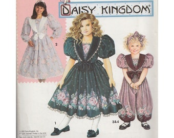 Little Girls 90s Daisy Kingdom Party Dress and Romper Simplicity 0657 Childrens Size 3- 5 Vintage Sewing Pattern Puffed Sleeve Harem Pants