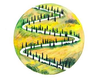 Original Watercolor painting Autumn fall prairie Cypress trees art illustration Village roads