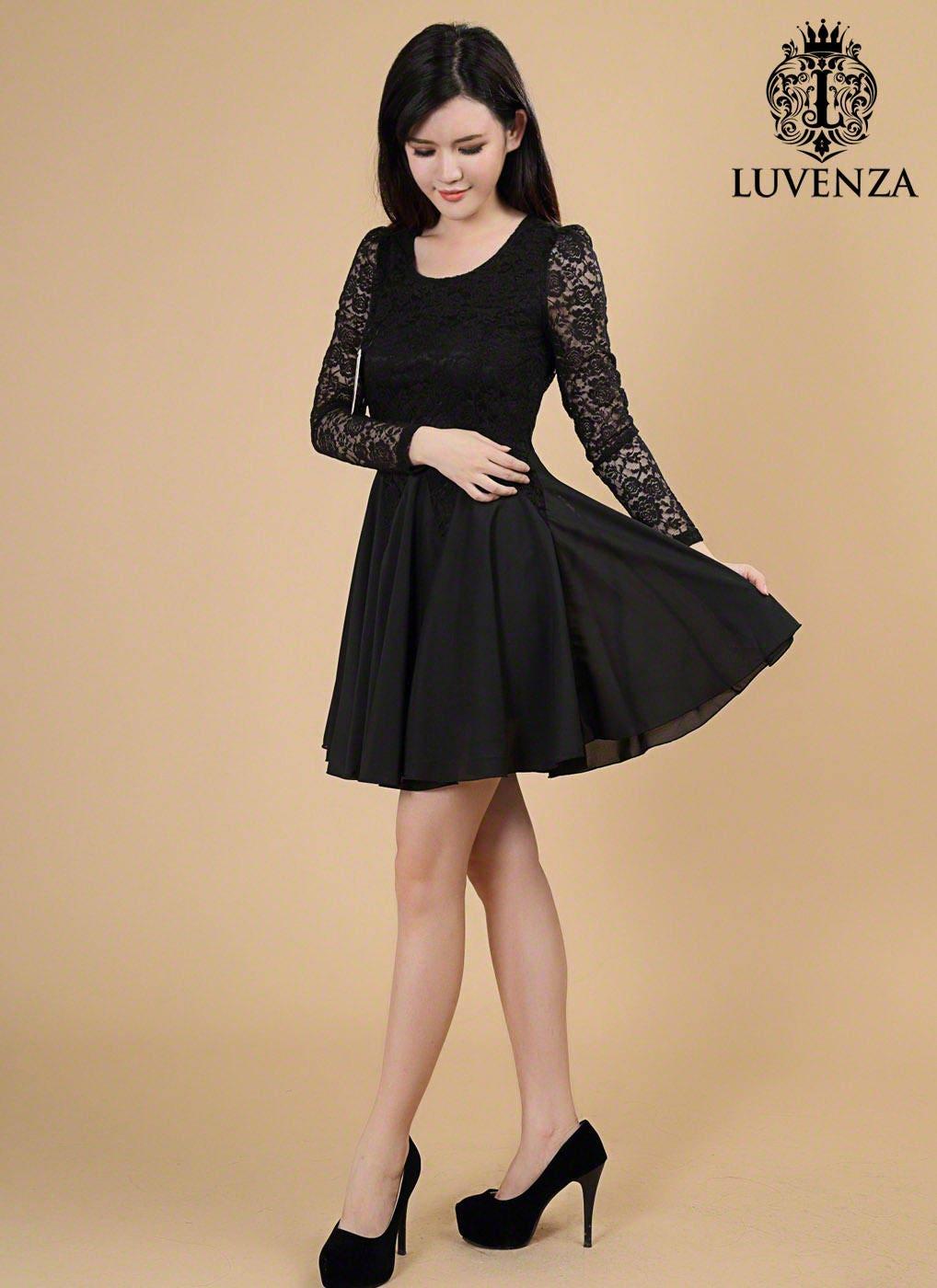 Spitze-Chiffon-Kleid schwarz / schwarz Fit und Streulicht