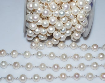 Beautiful Pearl Rosary Beaded Chain - Pearl Wire Wrapped Bead Chain , Pearl Chain , Sold By foot , 9-10 mm - RB5068