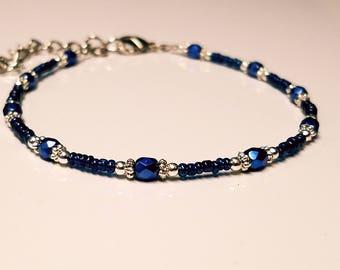 Blue Czech Glass Beaded Ankle Bracelet, Adjustable, Womens Anklet, Blue Anklet, Adjustable Anklet, Gift for Her