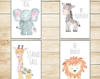 Safari Nursery Decor, Nursery Wall Art, Baby Animal Prints, Jungle Animals, Wall Decor, Kids Room Elephant Giraffe Zebra Lion Set of 4