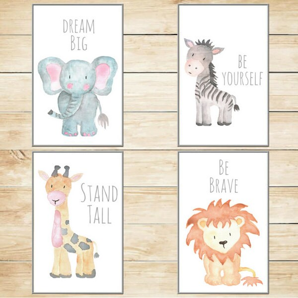 Safari Nursery Decor Nursery Wall Art Baby Animal Prints