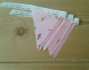Mini Bunting vintage floral and polka dot fabric with lace