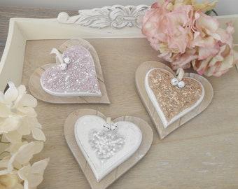 BEADED HEART HANGER, Wooden Double Heart with Glitter & Beads, Choice of 3, Glitz