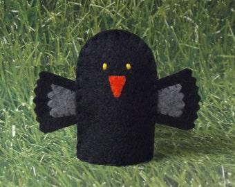 Blackbird Finger Puppet - Raven Puppet - Felt Finger Puppet Black Bird - Crow Finger Puppet - Finger Puppet Blackbird