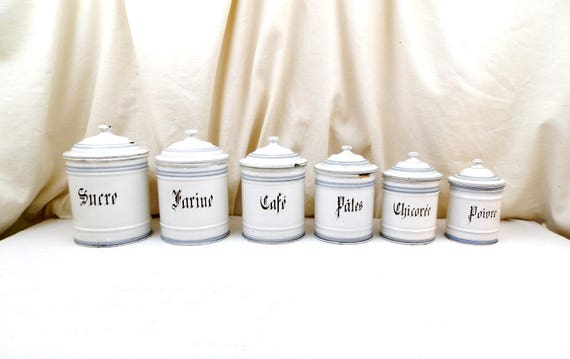 Antique French White Enamelware 6 Piece Canister Set Sugar Flour Coffee Gothic Graphics, Retro Kitchenware from France, Shabby Chateau Chic