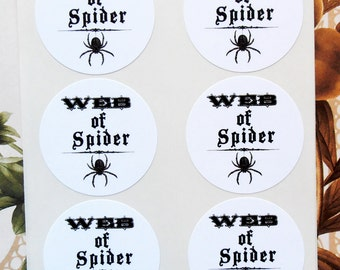 Halloween Stickers Spooky Spider Web Apothecary Party Favor Treat Bag Stickers Envelope Seals  SH003