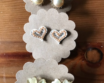 Three vintage stud earrings