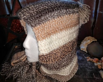 Mocha hooded scarf