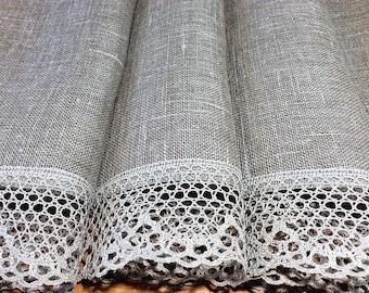 Burlap Curtains Gray Linen Cafe Curtains Panels Kitchen Curtains Valances  Rustic Curtains Custom Linen Drapes