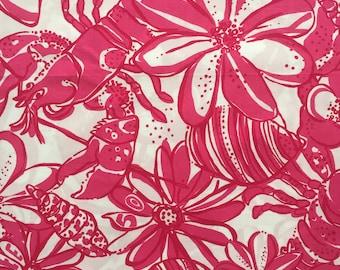 "pink 50th anniversary poplin cotton fabric square 18""x18"" ~ lilly pulitzer"