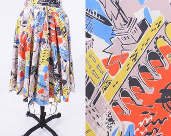 1950s novelty skirt | New York City novelty print circle skirt S | vintage 50s skirt | W 26""