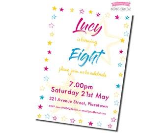Printable Pink Stars Birthday Party Invitation - White Background