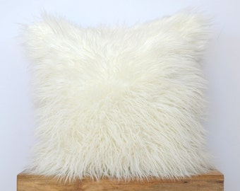 "Off White Mongolian Faux Fur Pillow - 20"" x 20"" - Ivory Pillow Cover, Neutral Pillow, Fur Pillow, Throw Pillow"