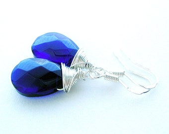 Dark Blue Glass Earring - Cobalt Blue Wire Wrap Earring - Silver Dangle Earring