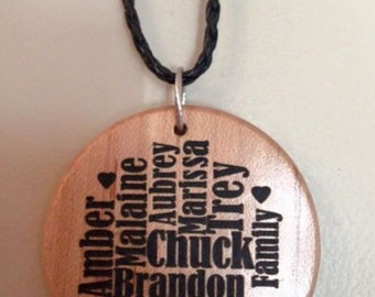Engraved Word Art Necklace