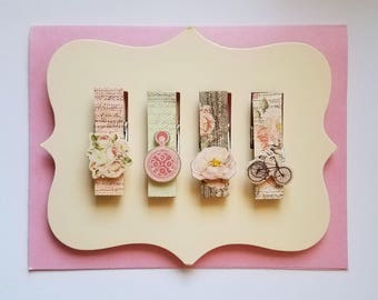 4 Piece Altered Clothespins/Shabby Chic/Chip Clip/Bookmark/Journal Clip/Vintage look/Clothespins/Clip Set/Scrapbooking/Planner Clip/Party
