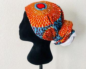 Head Wrap - African - Reversible - Kop Wrap - Koraal See (Coral Sea)
